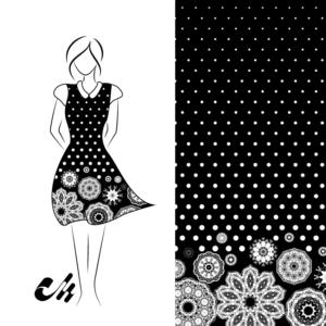 Viskose Viscose Jersey schwarz weiss Punkte Dots Mandala Bordürenstoff von Mondstoff