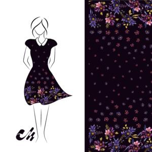 Viscose Viskose Jersey Bordürenstoff lila Blumen Aquarell von Mondstoff