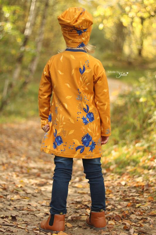 French Terry Sommersweat Bordürenstoff Herbst Ranken blau senf Blumen Aquarell von Mondstoff