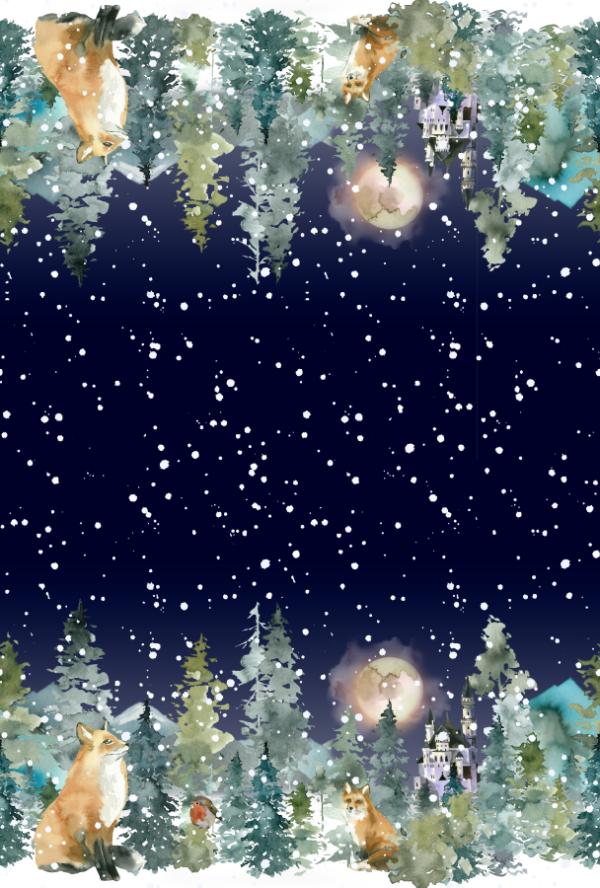 French Terry Sommersweat Wald und Fuchs Winter Aquarell Bordürenstoff von Mondstoff