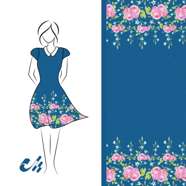 French Terry Sommersweat Blumen Aquarell Bordürenstoff von Mondstoff