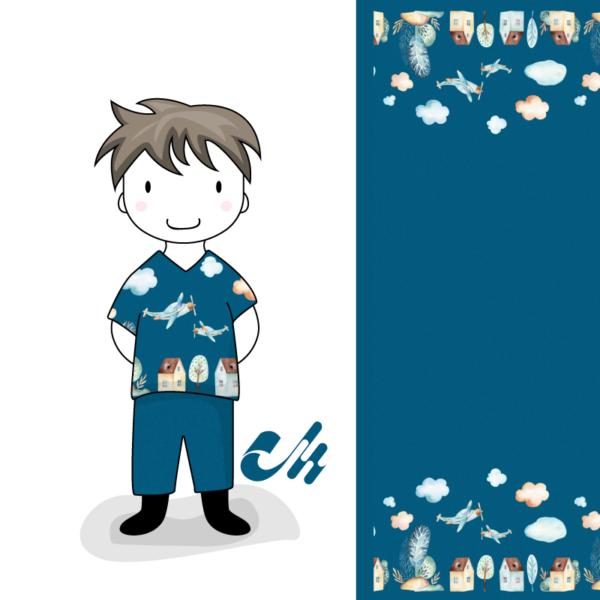 Baumwolljersey Kinder Jungs Wolken Häuser Flugzeug Aquarell Bordürenstoff Mondstoff