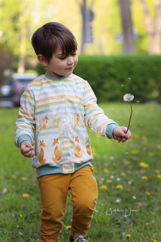 Baumwolljersey Kinder Mädchen Jungs Hase Fuchs Aquarell Bordürenstoff Mondstoff