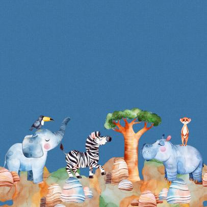 Baumwolljersey Kinder Mädchen Jungs Afrika Elefant Zebra Nilpferd Erdmännchen Schildkröte Giraffe Strauß Nashorn Aquarell Bordürenstoff Mondstoff